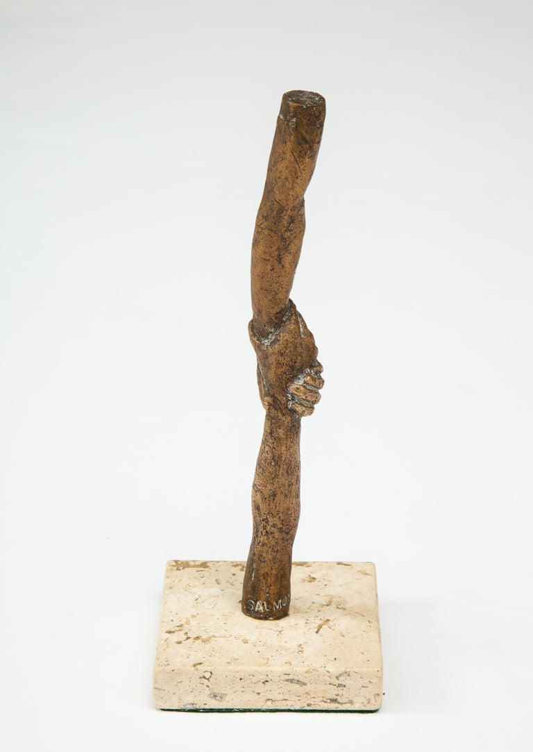 'Joined Hands' Bronze Sculpture by Victor Salmones In Excellent Condition For Sale In New York, NY