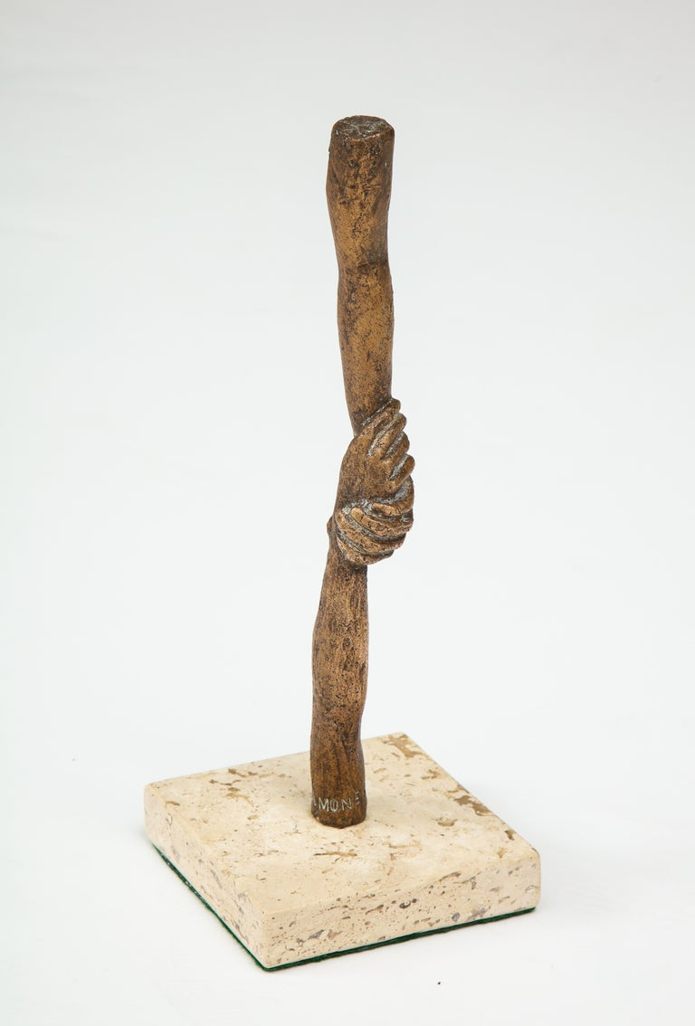 Mid-20th Century 'Joined Hands' Bronze Sculpture by Victor Salmones For Sale