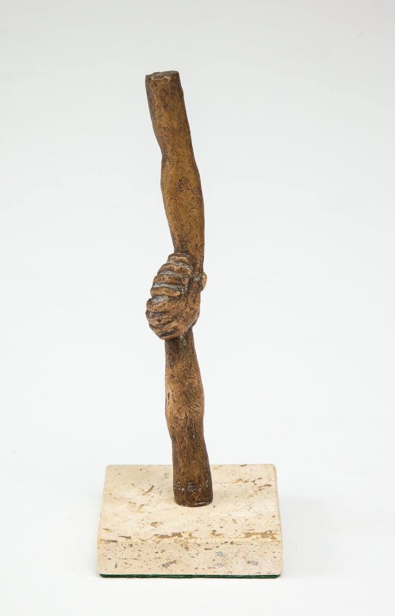 'Joined Hands' Bronze Sculpture by Victor Salmones For Sale 1