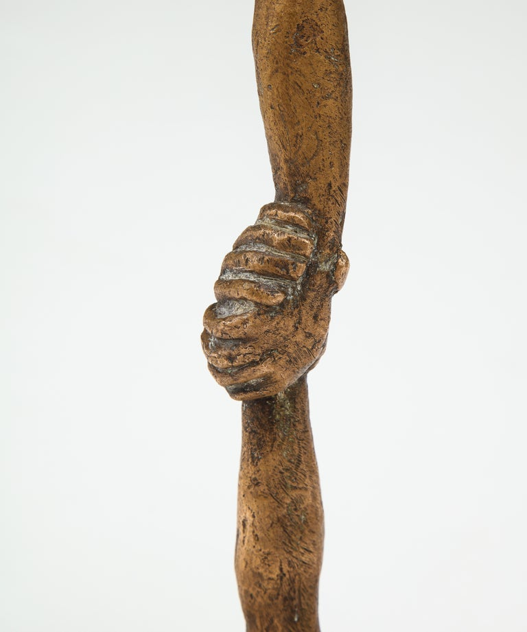 'Joined Hands' Bronze Sculpture by Victor Salmones For Sale 2