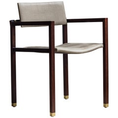 Joinery Dining Chair with Arms by Billy Cotton in Walnut Brushed Brass and Linen