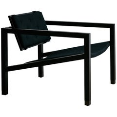 Joinery Lounge Chair by Billy Cotton in Blackened Oak, Blackened Brass and Linen