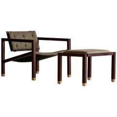 Joinery Lounge Chair by Billy Cotton in Walnut, Brushed Brass and Linen