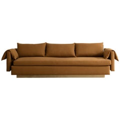 Joinery Sofa by Billy Cotton in Brushed Brass and Cotton Upholstery