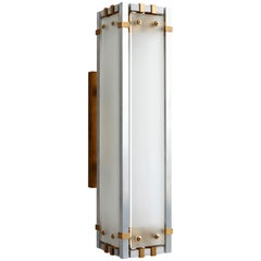 Joinery Wall Sconce by Billy Cotton in Aluminum, Brass and Acid-Etched Glass