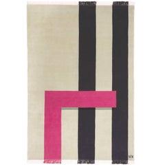 Pale Olive Wool Rug w/ fuchsia & Black Line by Cecilia Setterdahl for Carpets CC
