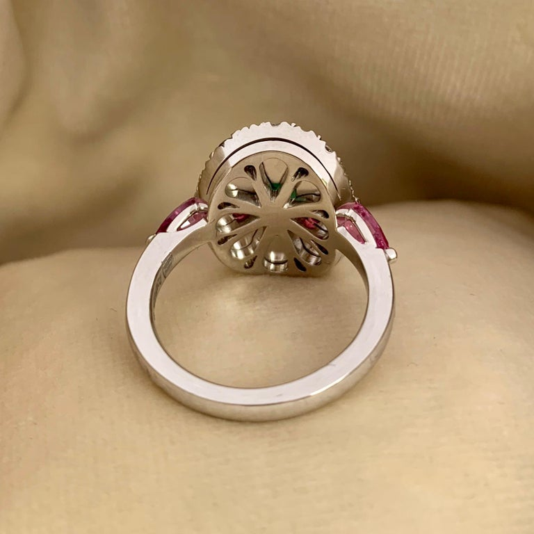 1.10 Carat Unoiled Emerald, Unheated Red Spinel and Pink Sapphire Ring For Sale 4
