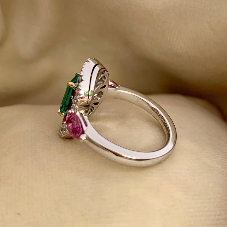 1.10 Carat Unoiled Emerald, Unheated Red Spinel and Pink Sapphire Ring For Sale 5