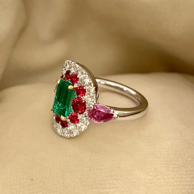 1.10 Carat Unoiled Emerald, Unheated Red Spinel and Pink Sapphire Ring For Sale 6