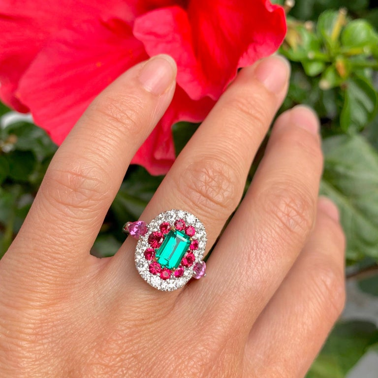 1.10 Carat Unoiled Emerald, Unheated Red Spinel and Pink Sapphire Ring For Sale 8