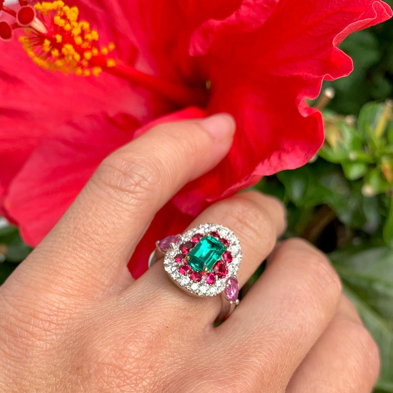 1.10 Carat Unoiled Emerald, Unheated Red Spinel and Pink Sapphire Ring For Sale 9