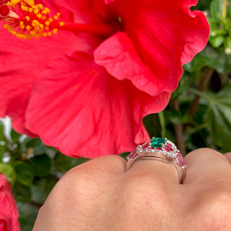 1.10 Carat Unoiled Emerald, Unheated Red Spinel and Pink Sapphire Ring For Sale 10