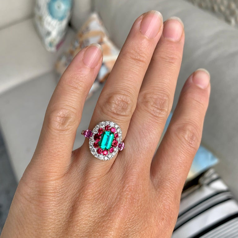1.10 Carat Unoiled Emerald, Unheated Red Spinel and Pink Sapphire Ring For Sale 11