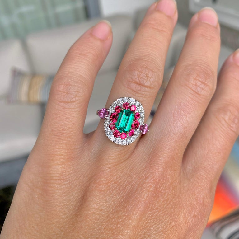 1.10 Carat Unoiled Emerald, Unheated Red Spinel and Pink Sapphire Ring For Sale 12