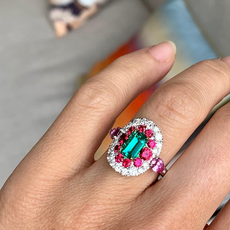 1.10 Carat Unoiled Emerald, Unheated Red Spinel and Pink Sapphire Ring For Sale 13