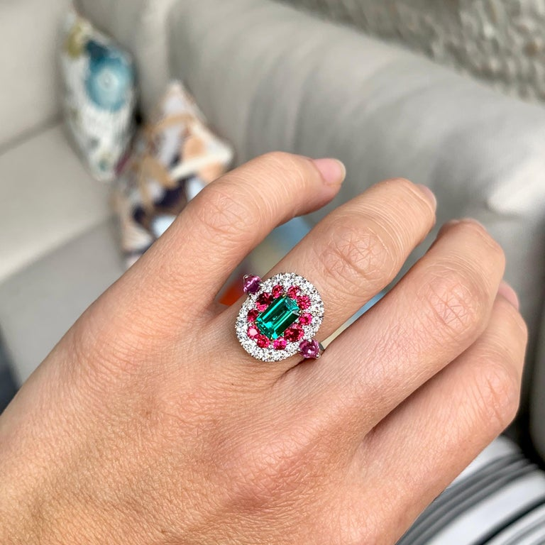 1.10 Carat Unoiled Emerald, Unheated Red Spinel and Pink Sapphire Ring For Sale 14