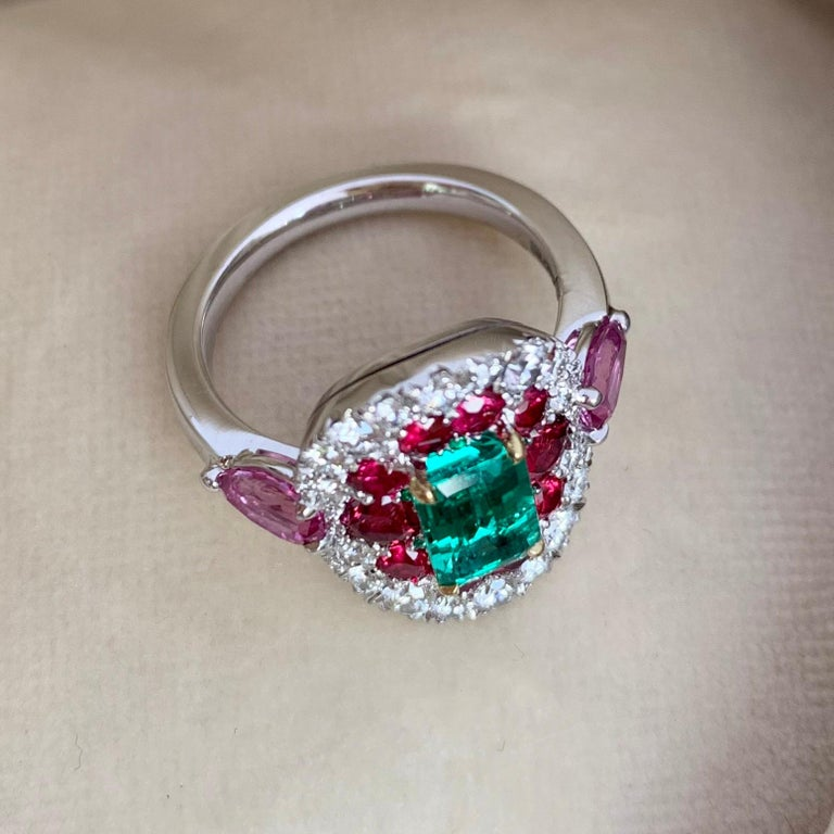 Emerald Cut 1.10 Carat Unoiled Emerald, Unheated Red Spinel and Pink Sapphire Ring For Sale