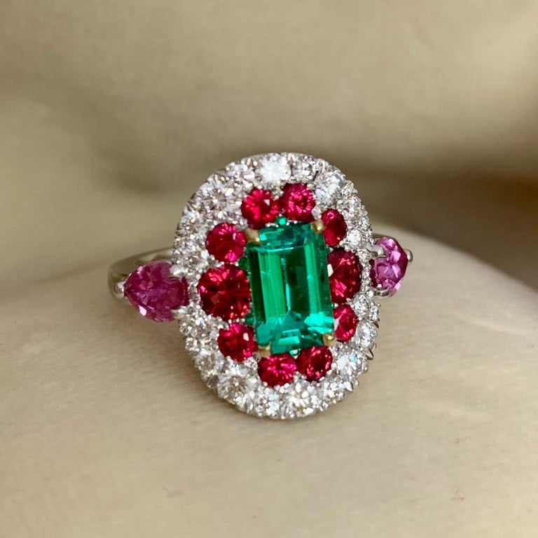 1.10 Carat Unoiled Emerald, Unheated Red Spinel and Pink Sapphire Ring For Sale 1