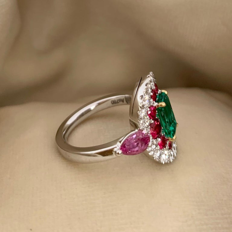 1.10 Carat Unoiled Emerald, Unheated Red Spinel and Pink Sapphire Ring For Sale 2