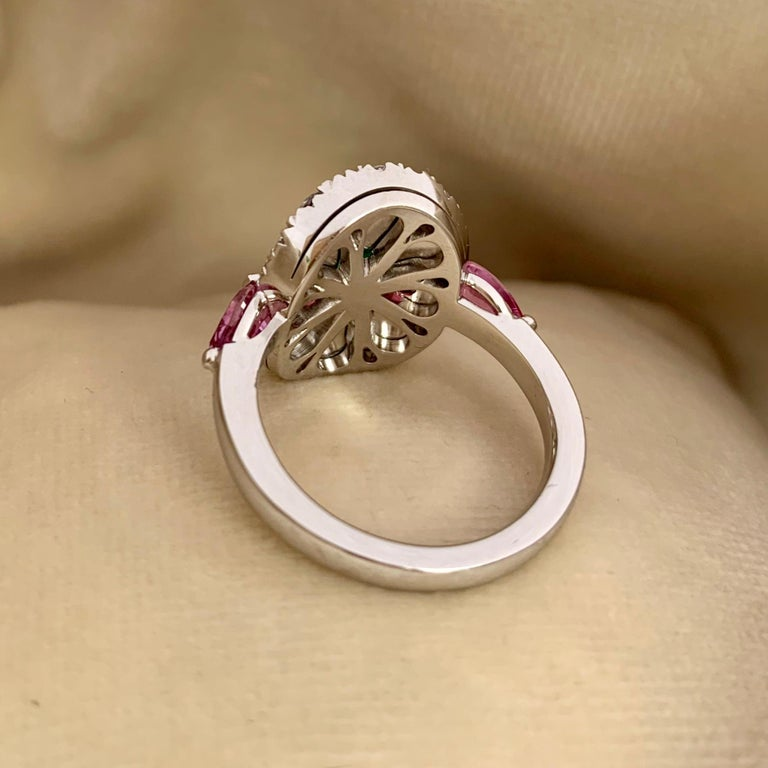 1.10 Carat Unoiled Emerald, Unheated Red Spinel and Pink Sapphire Ring For Sale 3