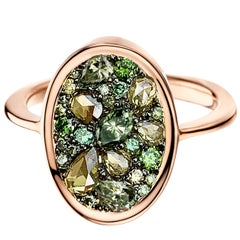 Joke Quick 1,17 Ct. Rose-cut & Briljant-cut Green Diamond Pave Cocktail Ring