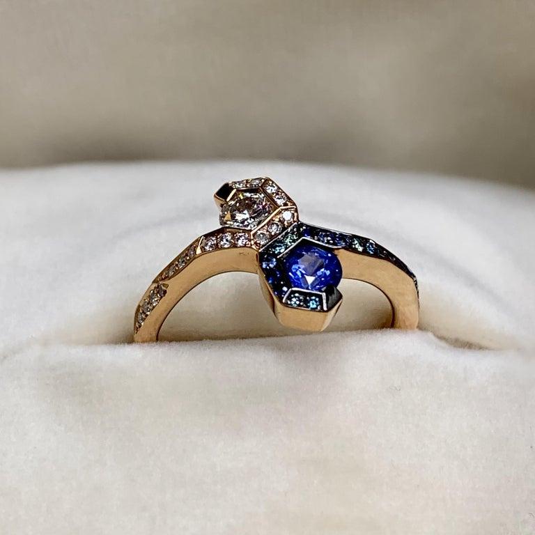 Joke Quick 18K Rose Gold Sapphire and Diamond Toi et Moi ring For Sale 4