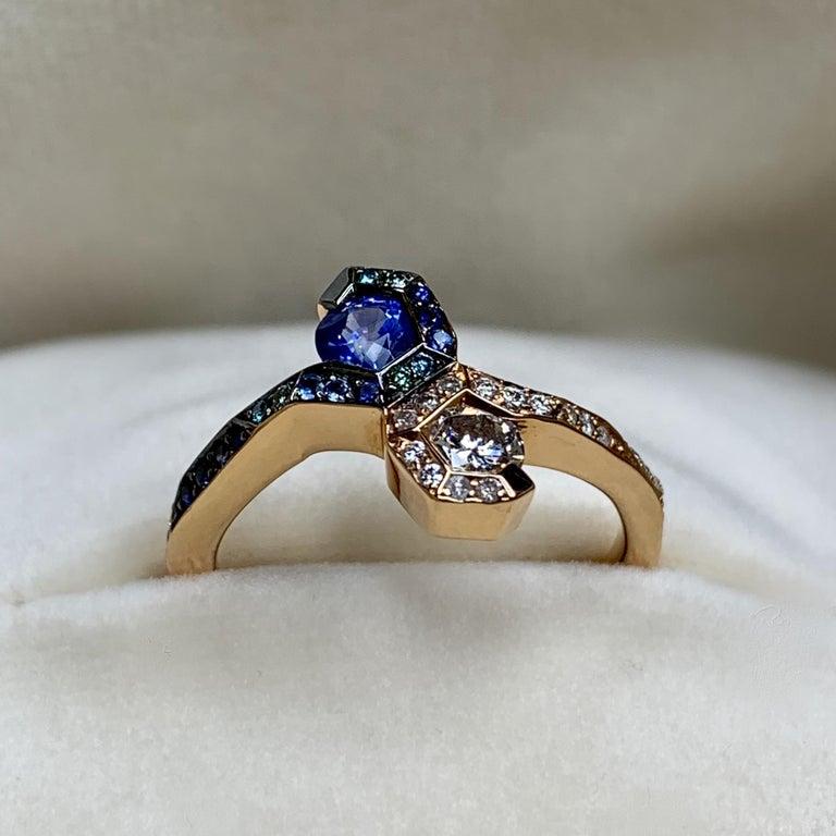 Joke Quick 18K Rose Gold Sapphire and Diamond Toi et Moi ring For Sale 6