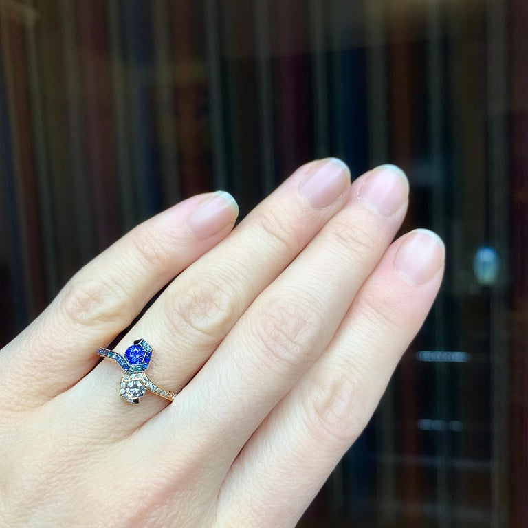 Joke Quick 18K Rose Gold Sapphire and Diamond Toi et Moi ring For Sale 8