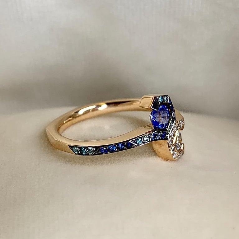 Women's Joke Quick 18K Rose Gold Sapphire and Diamond Toi et Moi ring For Sale