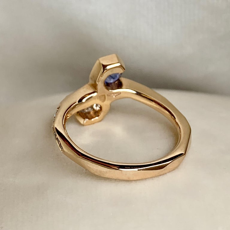 Joke Quick 18K Rose Gold Sapphire and Diamond Toi et Moi ring For Sale 1