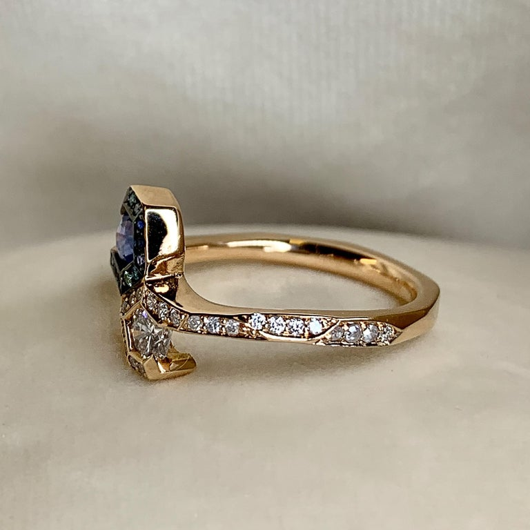Joke Quick 18K Rose Gold Sapphire and Diamond Toi et Moi ring For Sale 2
