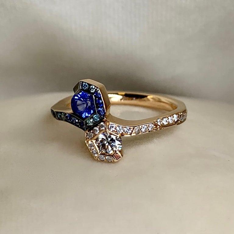 Joke Quick 18K Rose Gold Sapphire and Diamond Toi et Moi ring For Sale 3