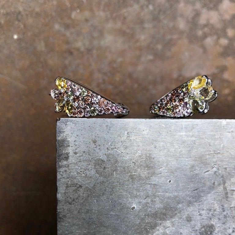 18 Karat White Gold 2.71 Carat Fancy Diamond Pave Ear Cuffs For Sale 5