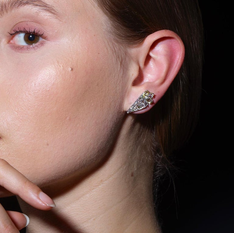 18 Karat White Gold 2.71 Carat Fancy Diamond Pave Ear Cuffs For Sale 6