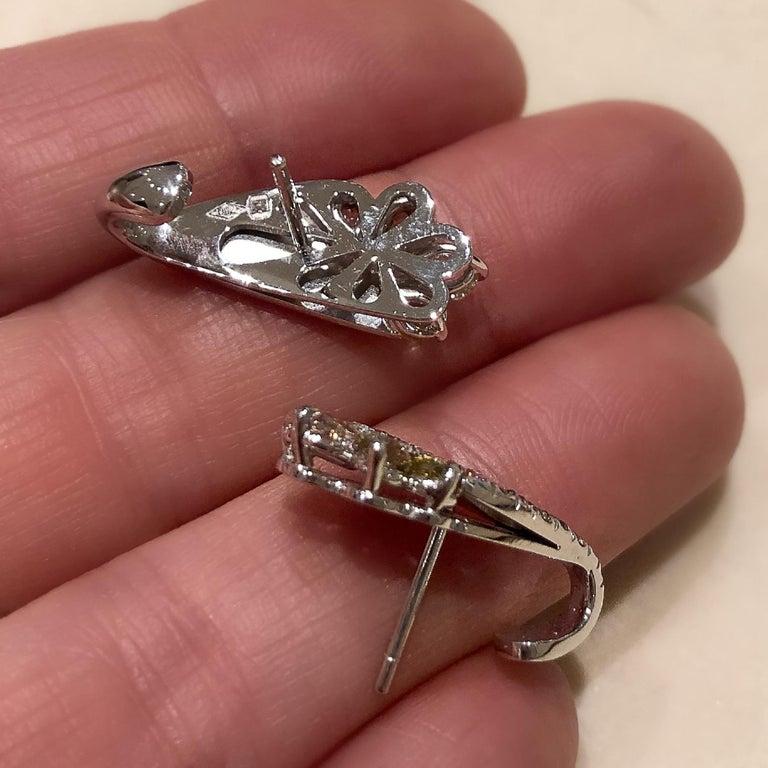 Contemporary 18 Karat White Gold 2.71 Carat Fancy Diamond Pave Ear Cuffs For Sale