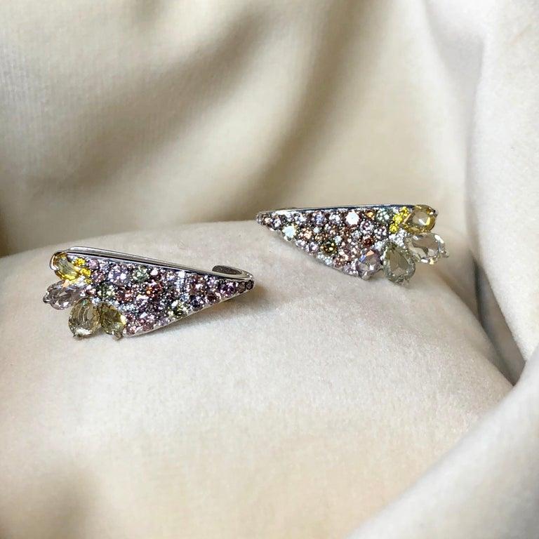 Rose Cut 18 Karat White Gold 2.71 Carat Fancy Diamond Pave Ear Cuffs For Sale