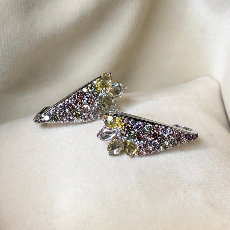 Women's 18 Karat White Gold 2.71 Carat Fancy Diamond Pave Ear Cuffs For Sale