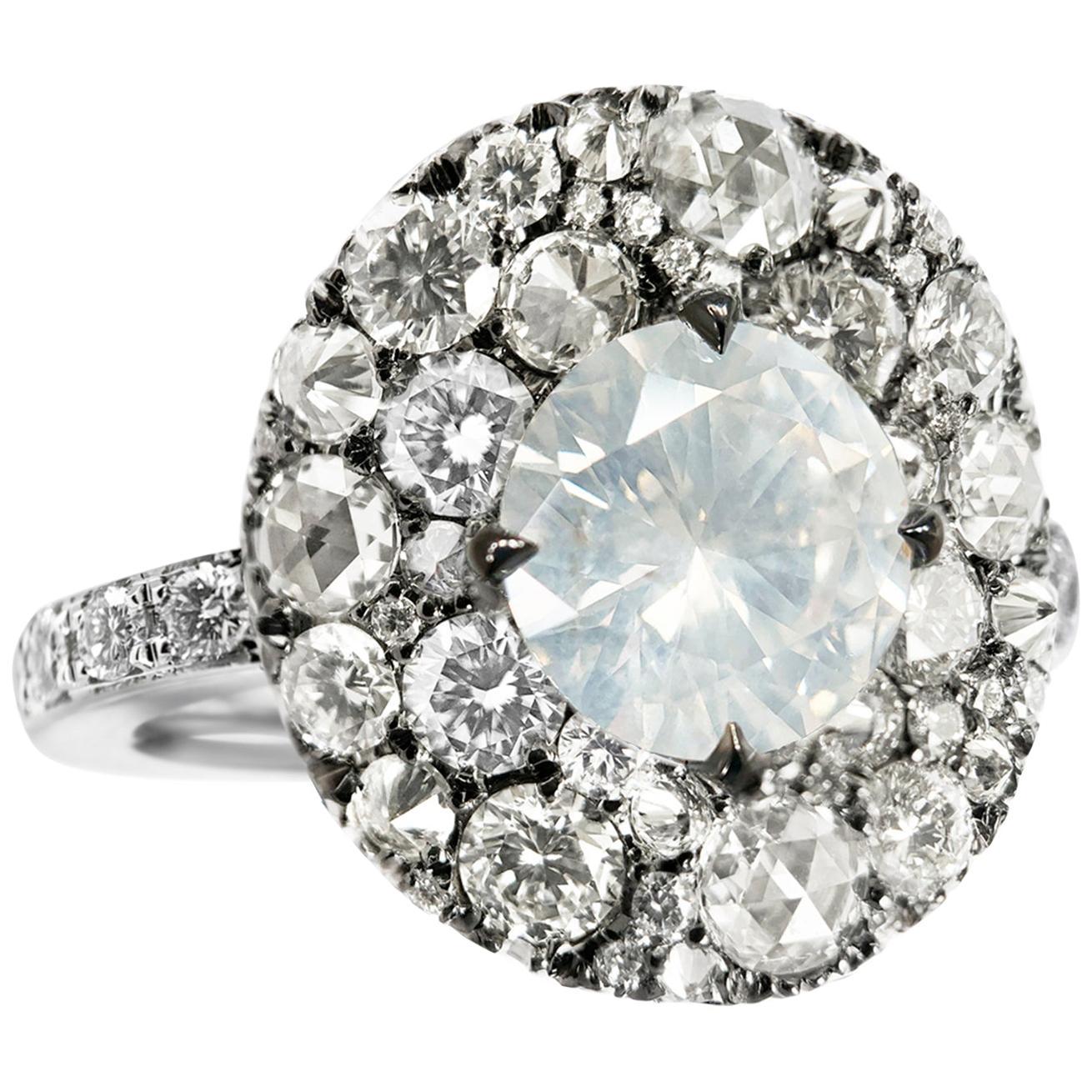 Joke Quick 2.10 Carat Fancy White Diamond Pave Cocktail Ring