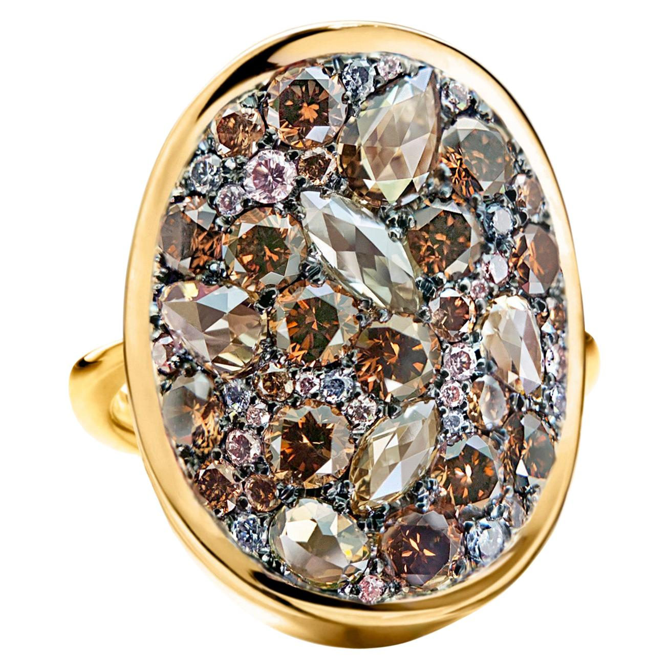 Joke Quick 3.45 Carat Fancy Chocolate Brown, Pink and Blue Diamond Pave Ring