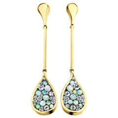 Joke Quick Australian Opal, Rose-Cut Diamond and White Diamond Pave Earrings
