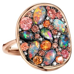 Joke Quick Black Opal Padparadscha Sapphire Fancy Pink and White Diamond Ring