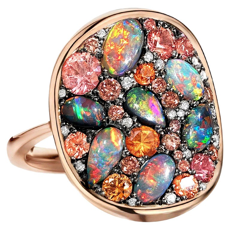 Joke Quick Black Opal Padparadscha Sapphire Fancy Pink and White Diamond Ring For Sale