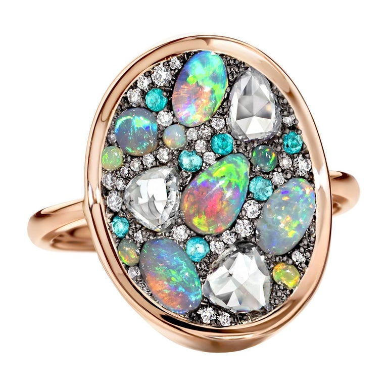 Tanzanite Diamond And Opal Ring