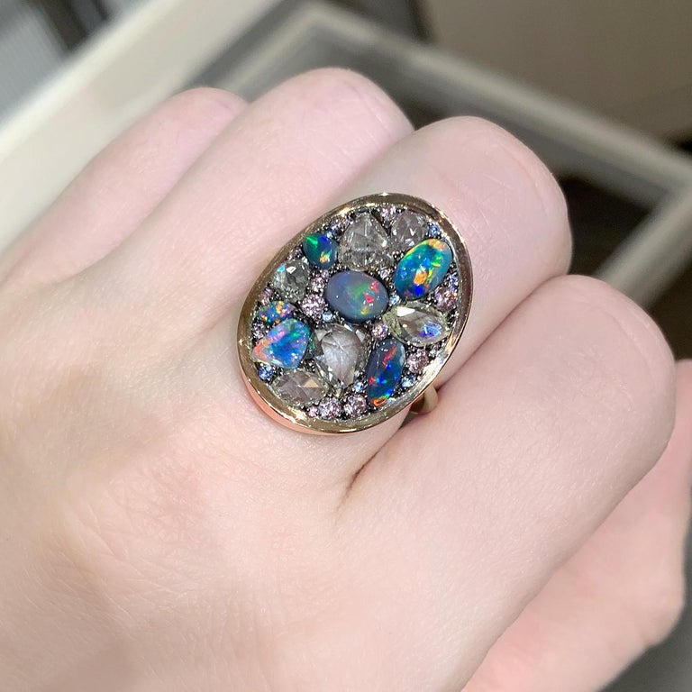 Artist Joke Quick Black Opal Rose-Cut and Fancy Pink Diamond No Heat Blue Sapphire Ring For Sale