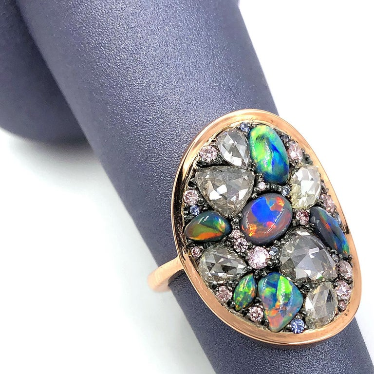 Round Cut Joke Quick Black Opal Rose-Cut and Fancy Pink Diamond No Heat Blue Sapphire Ring For Sale