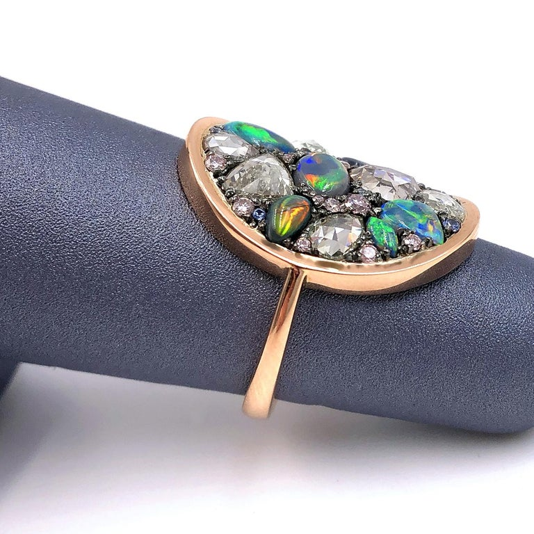 Joke Quick Black Opal Rose-Cut and Fancy Pink Diamond No Heat Blue Sapphire Ring In New Condition For Sale In Dallas, TX