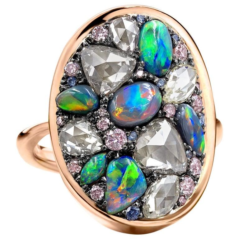 Joke Quick Black Opal Rose-Cut and Fancy Pink Diamond No Heat Blue Sapphire Ring For Sale
