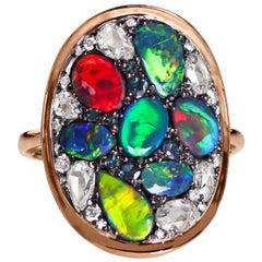 Joke Quick Flash Black Opal Alexandrite Rose-Cut Diamond Mosaic Ring