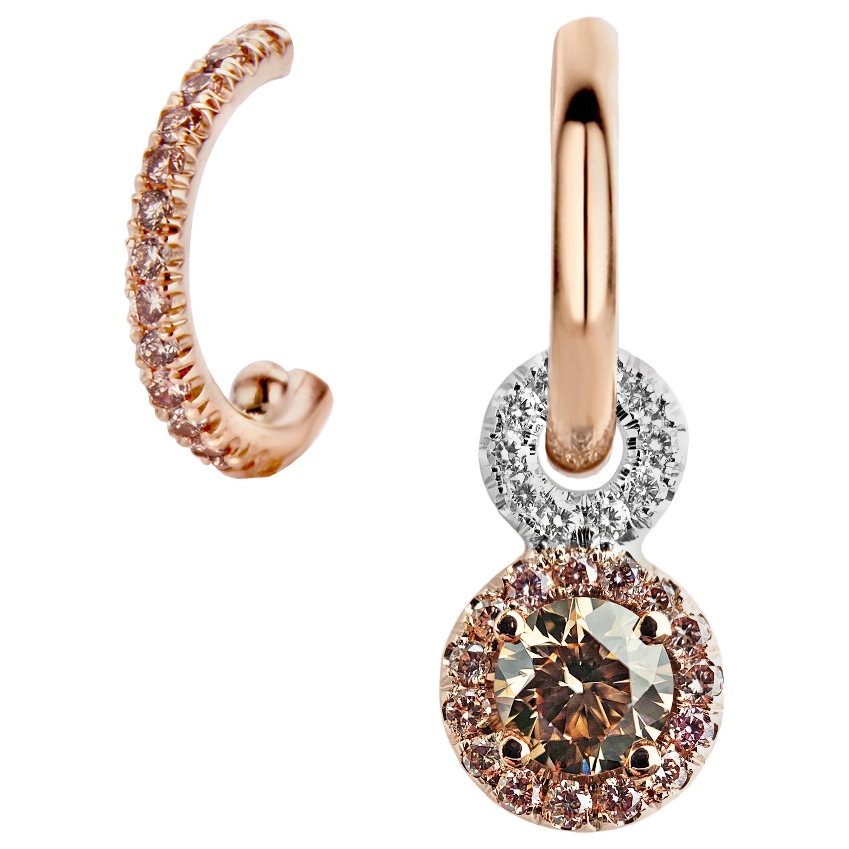 Joke Quick Handmade Mismatched Brown Pink White Diamond Earrings