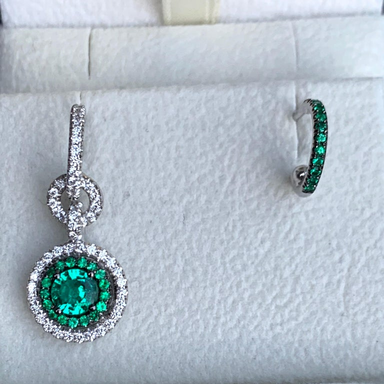 Contemporary Joke Quick Handmade Mismatched Columbian Emerald and Diamond Earrings For Sale